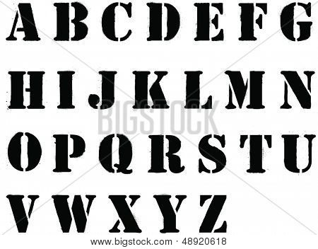 Banksy style grafitti stencil lettering whole alphabet