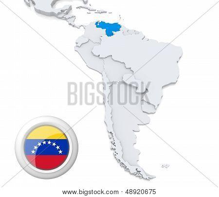 Venezuela On A Map Of South America