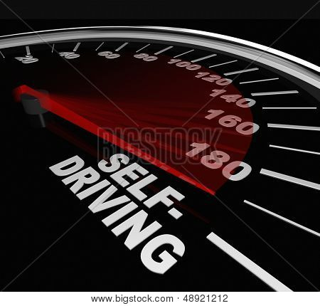 The words Self-Driving on a vehicle speedometer to illustrate the rise of autonomous vehicles to increase safety and reduce accidents