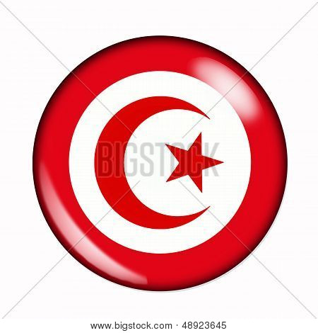 Button Flag Of Tunisia
