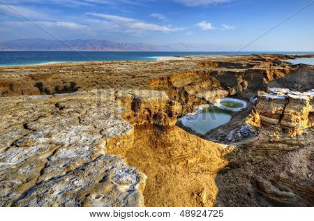 Sinkholes near the Dead Sea in Ein Gedi, Israel.
