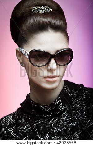 retro photo of a beautiful brunette woman