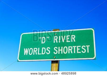 Sign For World's Shortest River