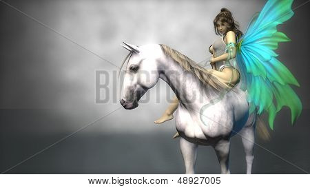 young fairy on horse