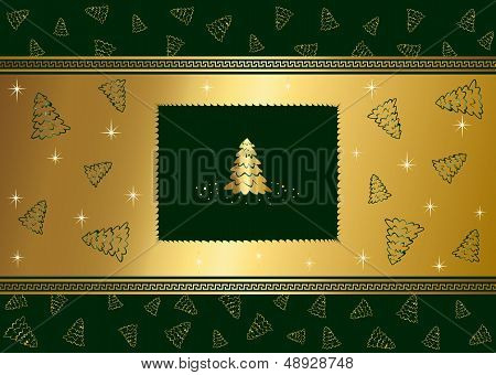 Green background with stars and Christmas tree