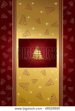 Red background with stars and Christmas tree