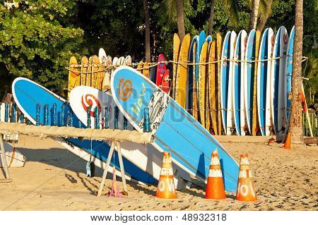 Surf Rental Shop On Waikiki Beach On Hawaii