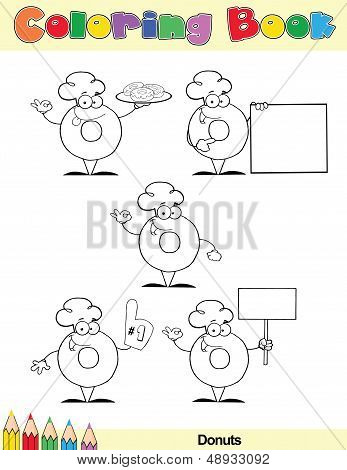Coloring Book Page Donut Cartoon Character