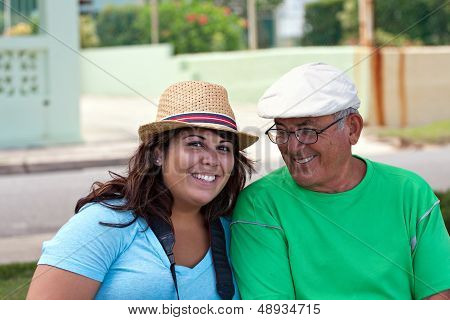 Hispanic Woman With Her Grandfather