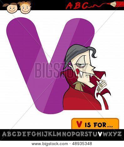 Letter V With Vampire Cartoon Illustration