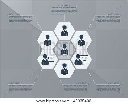 Six step business concept. Flat design in editable vector format