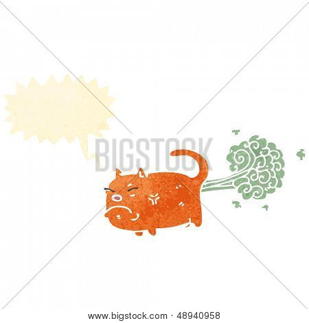 Retro Cartoon farting Katze