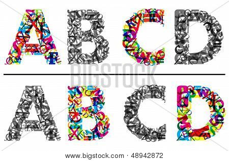 Alphabet letters A, B, c and D