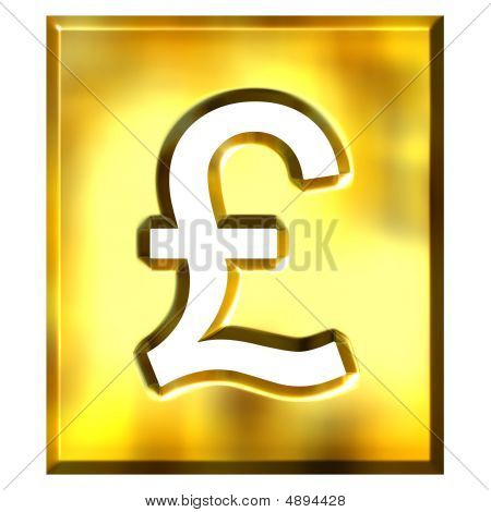 3D Golden Framed Pound Sign