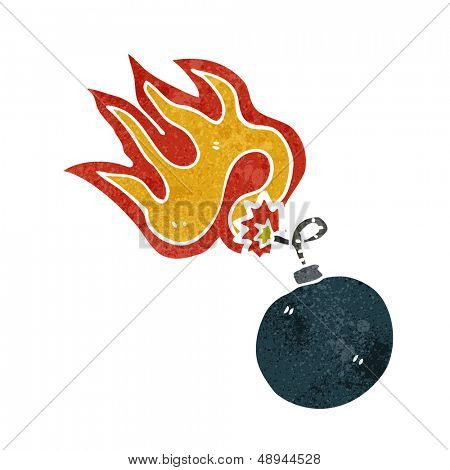retro cartoon bomb symbol with burning fuse