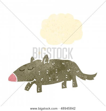 retro cartoon wombat with thought bubble