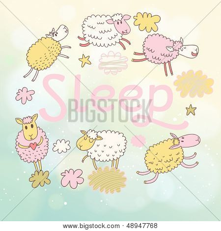 Funny sheep on clouds in vector card. Cartoon childish background. Sleeping concept illustration