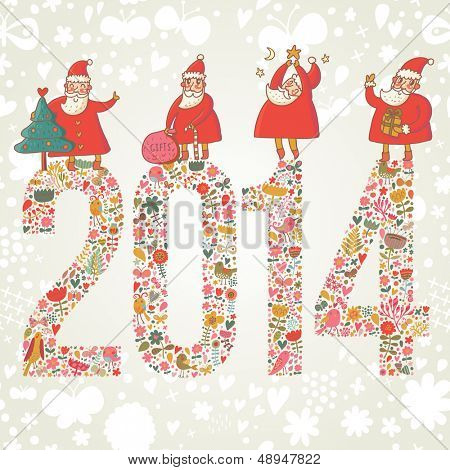 2014 concept New Year background. 2014 made of bright flowers with funny Santa and gifts on top in vector