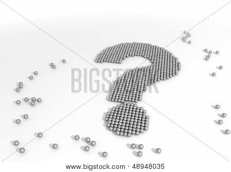 3D Graphic Of A Arranged Question Label Made Of Tiny Spheres