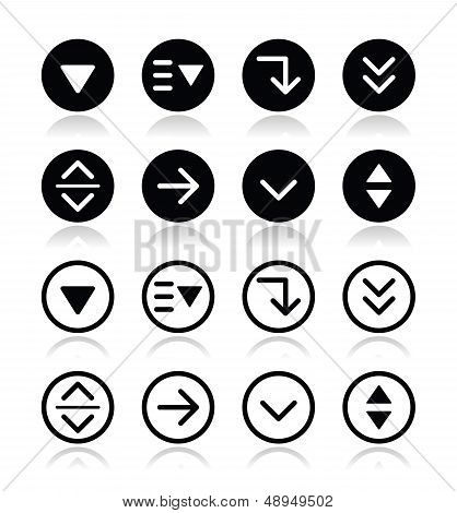 Drop down menu round icons set