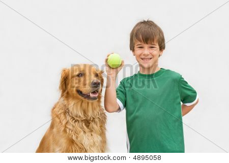 Boy Playing Catch With Dog