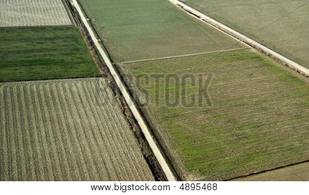 Cropland In Spring Aerial View