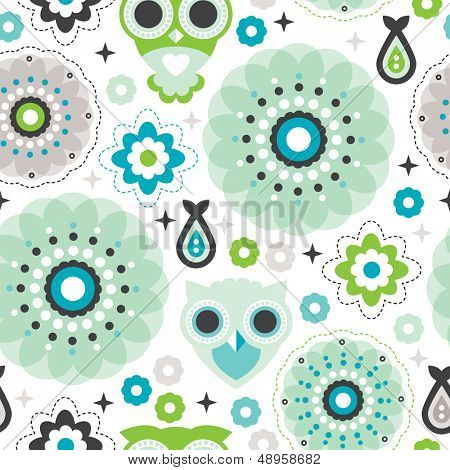 Seamless pastel flowers powder blue green owl background pattern for kids in vector