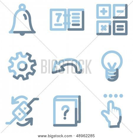 Organizer icons, light blue contour