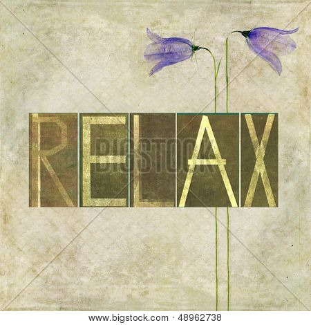 "Earthy background image and design element depicting the word ""Relax"""