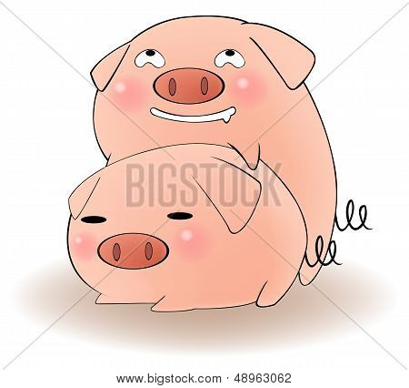 Two Cartoon Pigs Having Sex With Cunning Expression