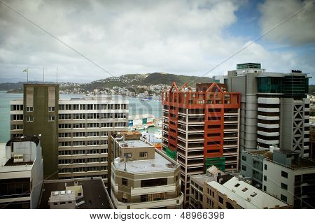 Wellington Skyline From Lambton Quay