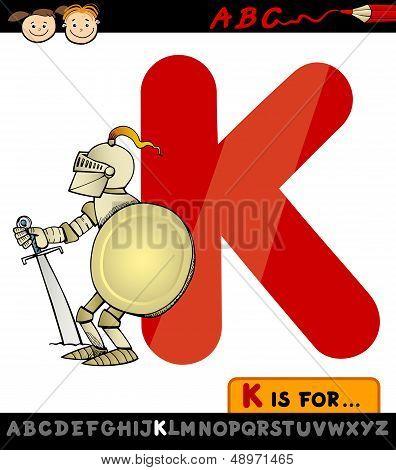 Letter K For Knight Cartoon Illustration