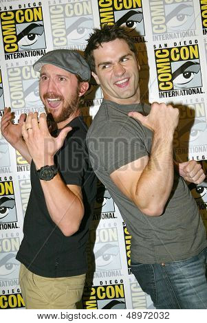 SAN DIEGO, CA - JULY 20: Sam Huntington and Sam Witwer arrive at the 2013 Comic Con press room at the Hilton San Diego Bayfront hotel on July 20, 2013 in San Diego, CA.
