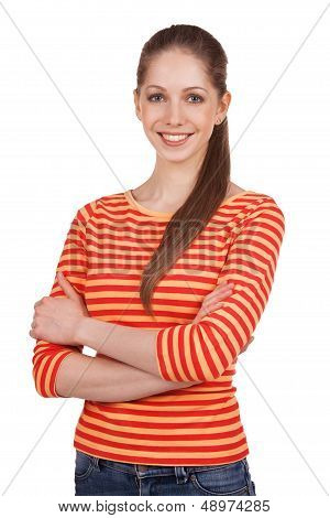 Young Woman In A Striped T-shirt