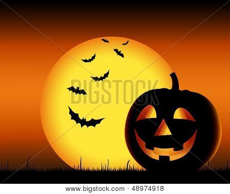 Grinning pumpkin with bats on backgound halloween