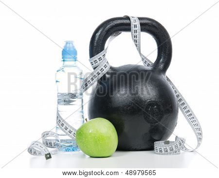 Big Black Fitness Weight Dumbbell With Tape Measure
