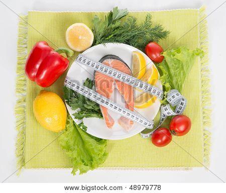 Diet Weight Loss Concept. Fresh Salmon Steak