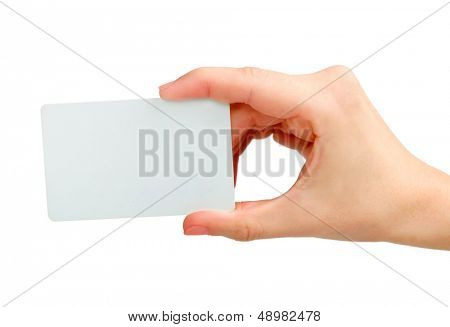 Business Card in hand isolated