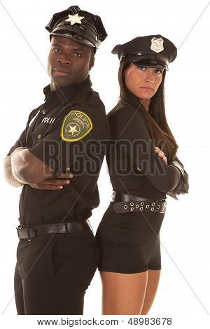 Male And Female Cop Back To Back Serious