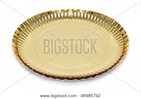 some golden cake boards on a white background