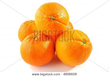 Oranges Isolated Over White.