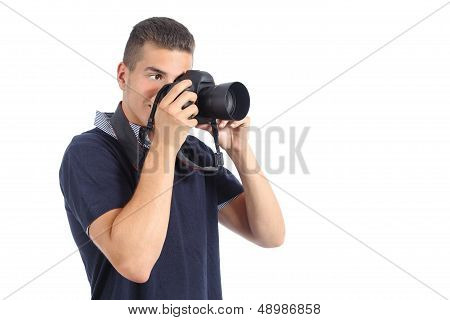 Handsome Man Taking A Photography With A Slr Camera