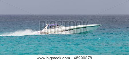 St Martin - Antilles, July 19, 2013 - Speedboat With Tourist On The Caribbean Sea On July 19, 2013.