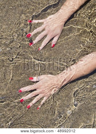 Woman Hands On  Water Foreshore,  Black Sand