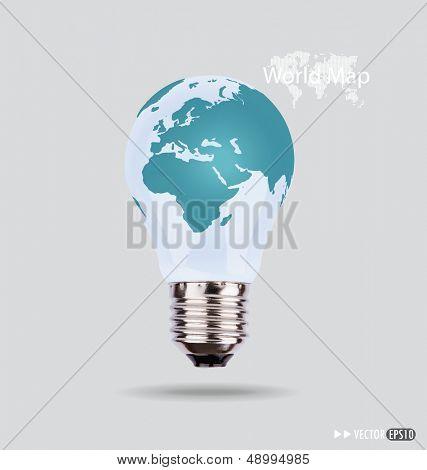 Ilustración de una bombilla eléctrica con un mapa del mundo. Vector EPS10