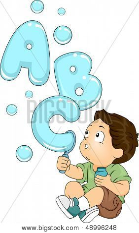 Illustration of a Kid Playing with a Bubble Maker Spouting Letters of the Alphabet