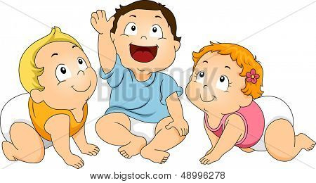 Illustration of a Group of Toddlers Huddled Together While Looking Upward
