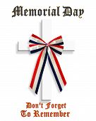 stock photo of memorial  - 3D Image and Illustration patriotic composition for Memorial day graphic stars and stripes with American Flag ribbon and text - JPG