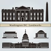 foto of washington skyline  - Washington DC landmarks and monuments isolated on blue background in editable vector file - JPG