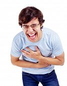 image of laugh out loud  - Young latin man in glasses doubling up with laughter - JPG